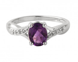 Amethyst 925 Sterling silver ring #665