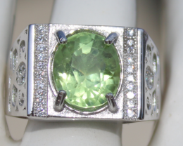 Peridot 4.15ct,White Gold Plated,Solid 925 Sterling Silver Ring