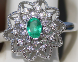 Panjshir Emerald .40ct,White Gold Plated,Solid 925 Sterling Silver Ring