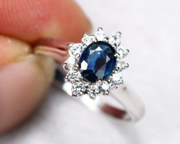 2.43g Natural Madagascar Pastel Blue Sapphire 925 Sterling Silver Ring E060