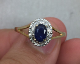 (B11) Cert. $1100 Nat. 0.67ct Blu Sapphire & Diamond Gold Ring 10K YG