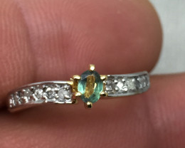 (B12) Certified $1400 Nat 0.34ct. Alexandrite & Diamond Ring 14K YG 2.1