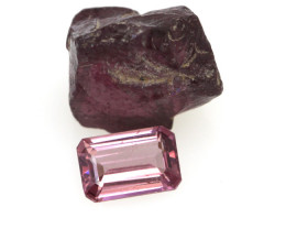 4.63cts Before and After set Rough and Emerald Cut Rhodolite Garnet Samples