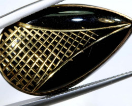 25CTS BLACK ONYX 24K GOLD ENGRAVED TBG-2979