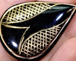 35CTS BLACK ONYX 24K GOLD ENGRAVED TBG-2980