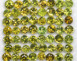 15.45 Cts Natural Demantoid Garnet (3.4-3.7 mm) Round 56 Pcs Parcel