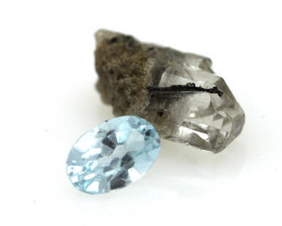 2.93cts Before and After Sample Set of Topaz Crystal and Cut Oval