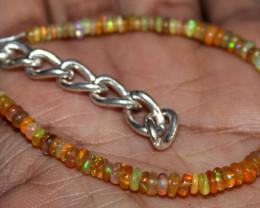 19 Crt Natural Ethiopian Welo Fire Yellow Opal Beads Bracelet 36