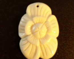 FLORAL PENDANT - BUFFALO BONE CARVING - HAND CARVED