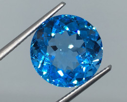 10.20 Carat VVS Topaz Caribbean Blue Spectacular Precision Cut and Quality