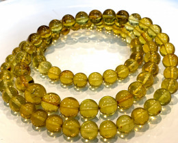 Natural Baltic Green Amber Round Beads Strand
