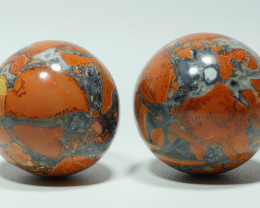 178 GRAM 2PCS JASPER MALIGANO BALL NATURAL  AA GRADE GREAT PATTERN -G23-