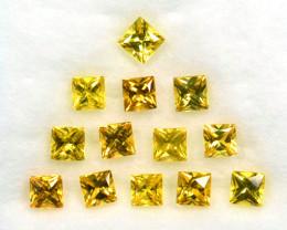 ~PRINCESS CUT~ 2.48 Cts Natural Yellow Sapphire 13 Pcs Madagascar
