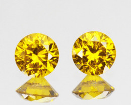 ~PAIR~ 0.16 Cts Natural Sparking Yellow Diamond Round Africa