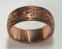 Size 9 Brand New Solid Copper Tribal Ring Band No Reserve
