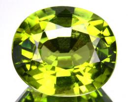 ~CERTIFIED~ 3.806 Cts Natural Peridot Yellowish Green Oval Cut Burma