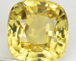 5.90 Cts Natural Sparkling Yellow  Zircon Cushion Cut Sri Lanka