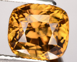 6.42 Cts Natural Honey Brown Zircon Cushion Cut Sri Lanka