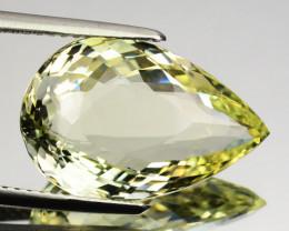 7.43 Cts Natural Mint Yellow Heliodor Beryl Aquamarine Pear Brazil