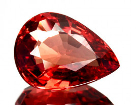 1.08 Cts Natural Orangesh Red Sapphire Songea Pear Cut Tanzania