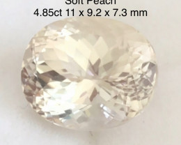 Luminous 4.85ct Soft Peach Oval Morganite G311