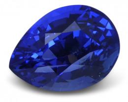 2.15 ct Blue Sapphire Pear GIA Certified Unheated, Burmese