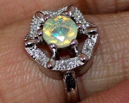 Natural Ethiopian Welo Fire Opal 925 Silver Ring Size (5 US ) 205