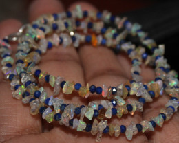 23 Crt Natural Ethiopian Welo Opal Uncut & Lapis Beads Necklace 26