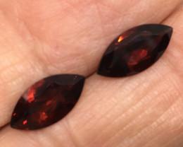 3.55 Carat VVS Garnet Crimsom Red Marquise Pair Stunning !