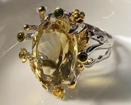 Sparkling Citrine Handmade 14kt Gold over Sterling Silver Ring