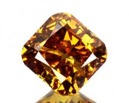 ~UNTREATED~ 0.23 Cts Natural Cognac Orange Diamond Cushion Africa