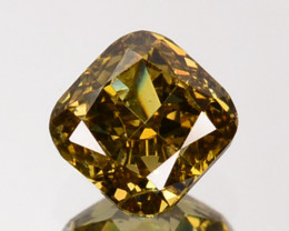 ~UNTREATED~ 0.31 Cts Natural Champagne Yellow Diamond Cushion Africa