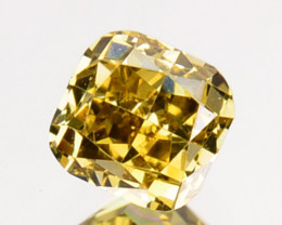 ~UNTREATED~ 0.32 Cts Natural Yellow Diamond Cushion Africa