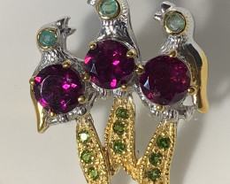 Three singing birds Rhodolite Garnets Chrome Sterling Brooch with Gold