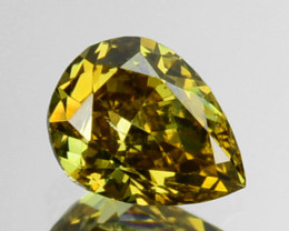 ~UNTREATED~ 0.24 Cts Natural Greenish Yellow Diamond Pear Africa