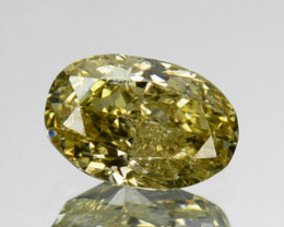 ~UNTREATED~ 0.22 Cts Natural Silver Yellow Diamond Oval Africa