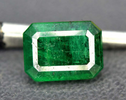 1.70 cts Radiant Cut Superb Top Quality Deep Green Color Rare Swat Emerald