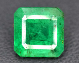 2.10 cts Emerald Cut Superb Top Quality Green Color Zambia Emerald Gemstone