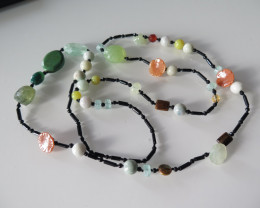 NICE MIXED GEMSTONE NECKLACE 120cm/725cts