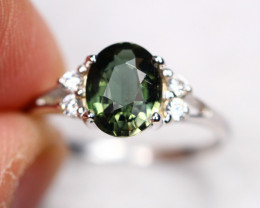 2.13g Natural Green Olive Color Tourmaline 925 Sterling Silver Ring E1014
