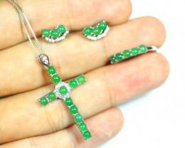 27.5Ct 925 Silver Necklaces, Earrings, Rings Jadeite Jade