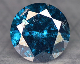 0.16 Cts Natural Electric Blue Diamond Round Cut Africa