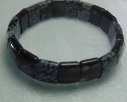 Snowflake Obsidian Stone Bracelet 15 MM