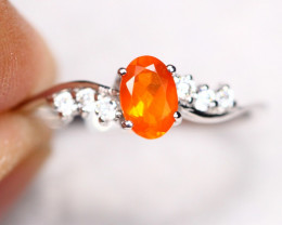 1.33g Natural Orange Color Mexican Fire Opal925 Sterling Silver Ring A1108
