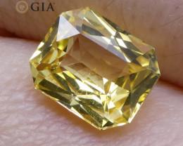 1.74 ct Yellow Sapphire Octagonal GIA Certified Unheated, Sri Lanka