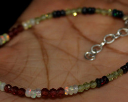 Natural Ethiopian Smoked Opal Peridot Garnet Beads Bracelet 165