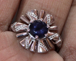 Natural Iolite Sterling Silver Ring Size (6 US) 43