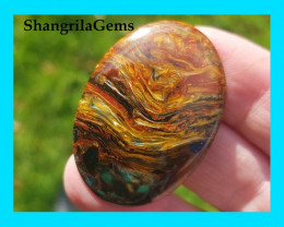 39mm 36ct Pietersite  blue red and gold oval cabochon AAA 39 by 28 by 4mm