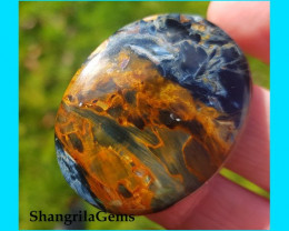 40mm 45ct Pietersite VIDEO LINK blue red and gold oval cabochon AAA 40 by 3