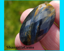 31mm 19ct Pietersite blue red and gold oval faceted cabochon AAA 31 by 17 b